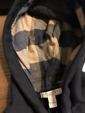 NEW Burberry Men Black Sweater Chest Logo Nova Check Plaid Hoodie S $325