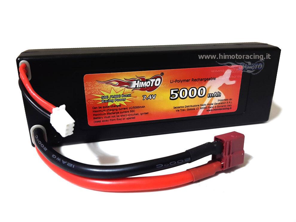 BATTERIA RIGIDA LiPo 5000MAH 7,4V 2S 2celle Burst 100C Disch.50C PLUG HIMOTO