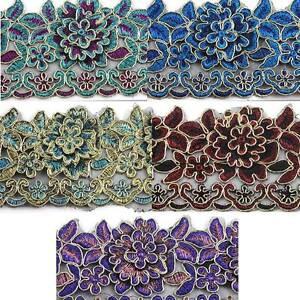 1-METRE-FLOWER-TRIMMING-GOLD-EDGE-LACE-WEDDING-DRESS-ART-CRAFT-COLOUR-BRIGHT-SEW