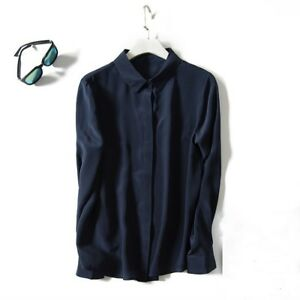Women-100-Real-Pure-Silk-Business-Shirts-Blouse-V-Neck-Button-Leisure-Tops-size