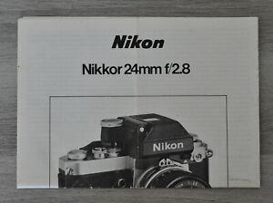 Nikon : notice pour objectif Nikkor 24mm f/2.8
