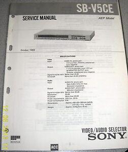 SONY SB-V5CE Video/Audio Selector Service Manual