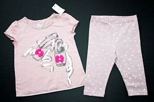 NWT-BABY-GAP-Modern-Dance-Ballet-Shoes-Salmon-Outfit-Top-Capri-Leggings-3T-3-B01