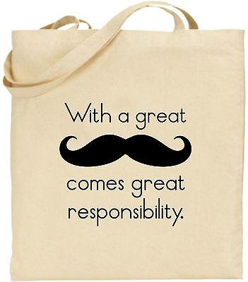 Toller Moustache Verantwortung Groß Baumwolltasche Einkaufstasche Geschenk Spaß