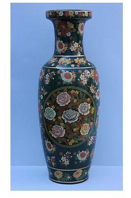Energisch Dekorative Große Keramik-vase Mit Blumen Email-malerei Höhe 60,5 Reich Und PräChtig Wohl China