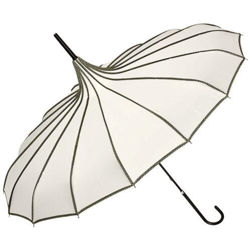Regenschirm Brautschirm Hochzeit Sonnenschirm Pagode creme schwarz Damen Justine