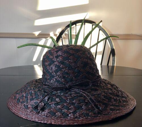 Vintage Betmar Woven Wide Brim Sun Hat 1930s Glamo