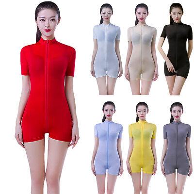 Damen Kurzarm Body mit Reißverschluss Transparent Unterhemd Overalls Jumpsuit