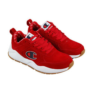 7f4147bab97 Champion 93 Eighteen Big Mens Red Suede Low Top Lace Up Sneakers ...