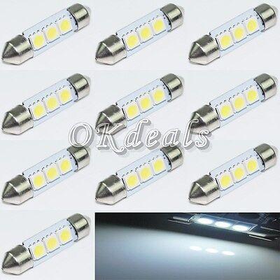 10X 36mm 3 SMD 5050 LED Pure White Car Festoon Map Interior Dome Light  12V
