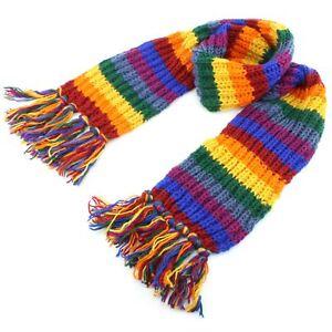 Stripey Wool Scarf Loudelephant Chunky Knit Tassels Rainbow Black  36fd3646bac7