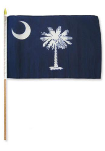 "12x18 12/""x18/"" State of South Carolina Stick Flag wood Staff"