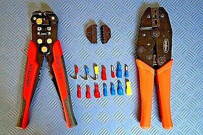 300 Kabelschuhe Profi-Crimpzange Set Abisolierzange mit Crimpvorrichtung