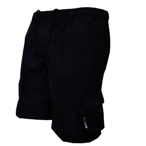 Mens Summer Elasticated Plain Shorts Cotton Multipocket Cargo Combat Pants M-3XL
