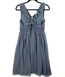 Review Women's Size 12 Grey Knee Length Ruffle Sleeveless Empire Waist Dress