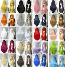 Long Cosplay Wig Straight Heat Resistant Synthetic Hair 80CM Bangs Anime Costume
