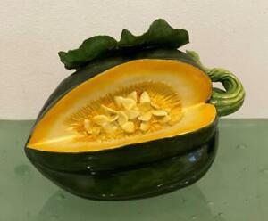 Katherine-Houston-Porcelain-Art-Open-Acorn-Squash-Sculpture-Signed-2000-Majolica
