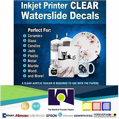 Waterslide Decal Transfer Paper for Art and Crafts Clear InkJet 5 Sheets 8.5x11
