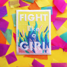 Fight Like A Girl Iron Sew On Patch Feminist Sewing Applique Embroidered Badge