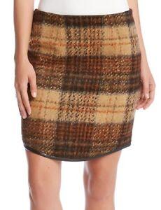 20c1c3c008 Karen Kane 3L98202 Curved Hem Brown Plaid Skirt w/Faux Leather Trim ...