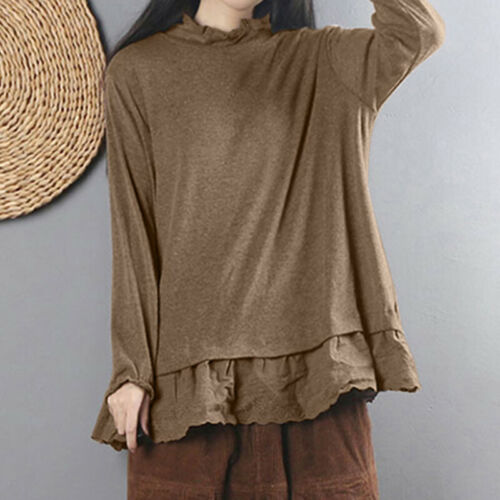 ZANZEA Women Autumn Winter Ruffled Top Tee Tee Shirt Pullover Jumper Knit Blouse