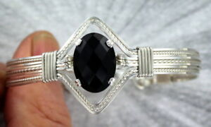 Black-Onyx-Gemstone-Bracelet-in-Sterling-Silver-Size-6-to-9-Wire-Wrapped