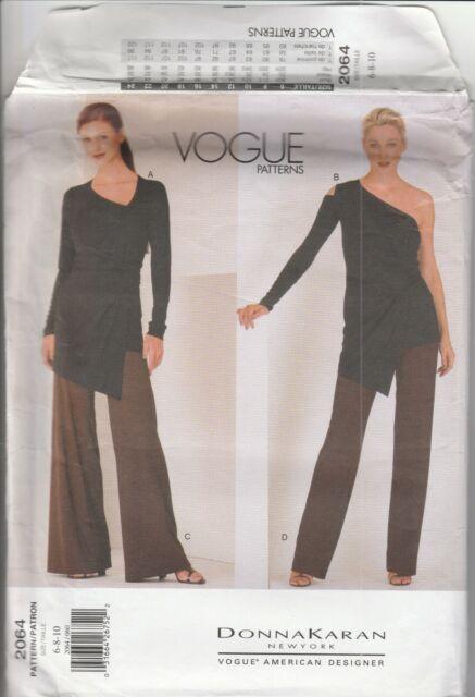 Vogue Sewing Pattern 2064 Donna Karan Knit Fabric Asymmetrical Top & Pants 6-10