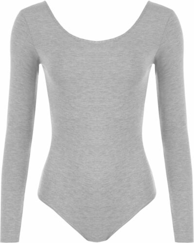 WOMENS LONG SLEEVED SCOOP NECK LEOTARD SOFT STRETCH BODYSUIT DRESS TOP