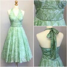 Coast Ladies Green Blue Floral Halter Neck 50s Retro Full Skirt Dress UK Size 10