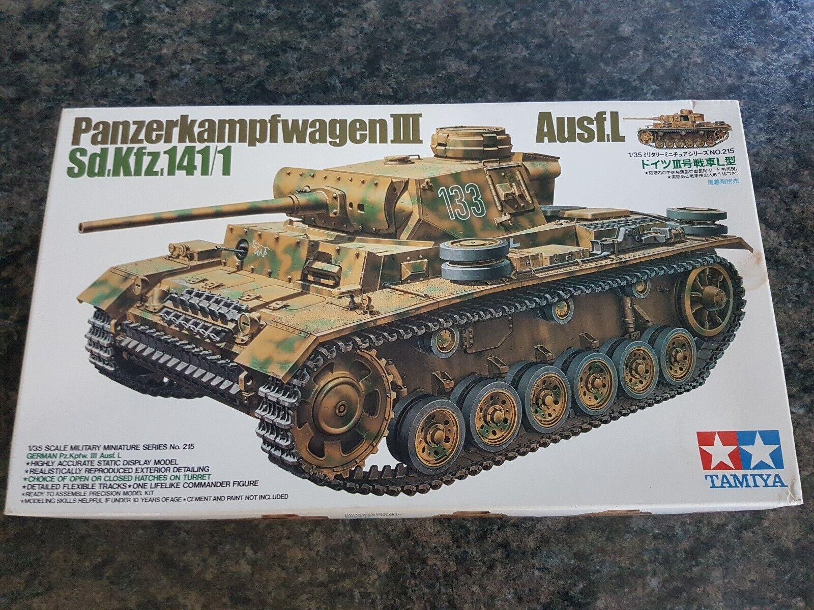 Tamiya 1 35 German Panzerkampfwagen III Ausf.L Tank Great Condition Very Rare