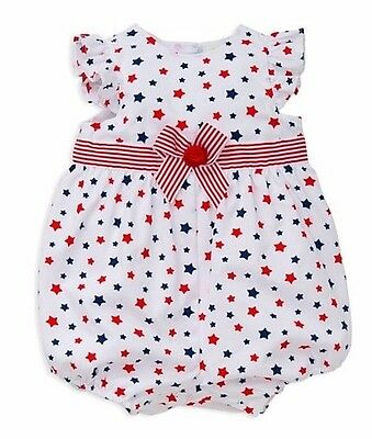 MSRP $26 Little Me Infant Girl Red//White//Blue Americana Stars /& Stripes Romper
