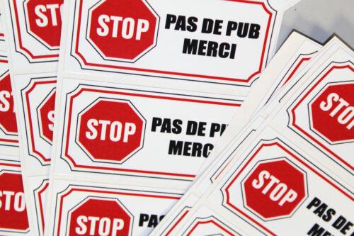Plaquette Aluminium brossé STOP PAS DE PUB MERCI métal 4x8 cm percée 4 coins