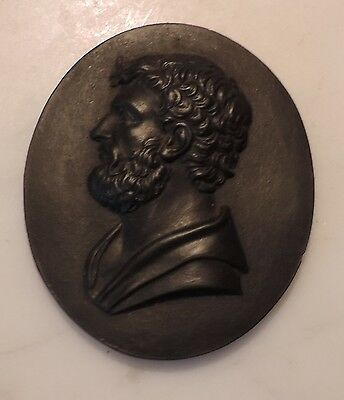 Antique 18th century Wedgwood Black Basalt Oval Plaque Cameo Spartan Lysander