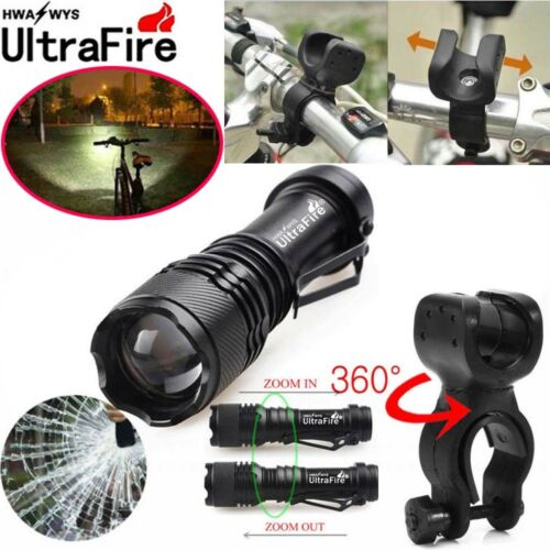 50000LM Q5 LED Flashlight Zoomable Torch Light Lamp AA 14500 Battery Bike Mount