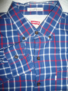Levi-039-s-Checked-Arbeit-Routinearbeit-Shirt-Herren-Medium-Langarm-Vintage-LSHT-334
