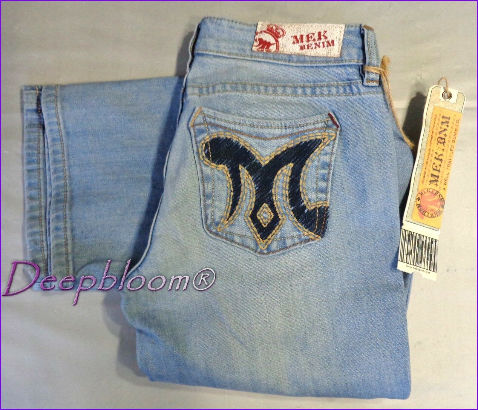 MEK DENIM JEANS PANTS WOMENS 27 28 CYPRESS SLIM FIT BOOT CUT blueE LOW RISE NEW