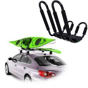 Deluxe-Kayak-Carrier-Boat-Canoe-Surf-Ski-Snowboard-Roof-Top-Mounted-J-Bar-Rack