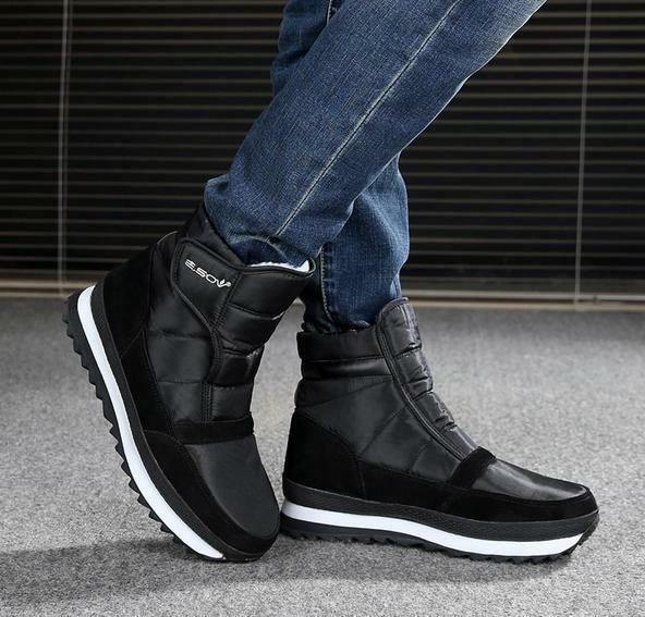 Mens high top Outdoor Non-slip Cotton waterproof Warm Snow Ankle Boots shoes