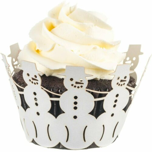 Christmas Cupcake Wrappers 50 pc Snowman Holiday Parties Decoration Refreshments