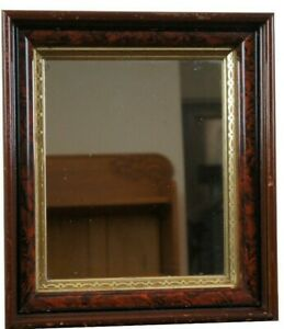 Early 20th Century Antique Faux Tortoise Wall Hanging Mirror Beveled Gold Frame