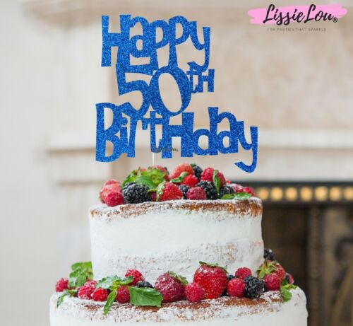 LissieLou Happy 50th Birthday Cake Topper Glitter Card Made in the UK