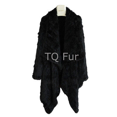 Special Offer Real Knitted Rabbit Fur Long Coat Jacket Overcoat Quality A Black