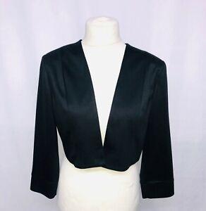Womens-Ladies-3-4-Sleeve-Cropped-Evening-Shrug-Bolero-Top-Cardigan-Jacket-Black