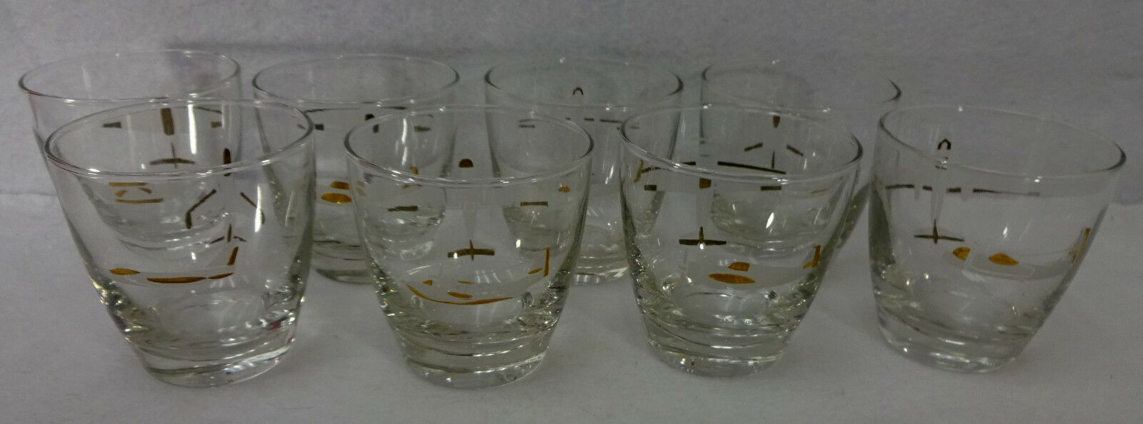 Set Eight (8) MILITARY FIGHTING PLANES Double Old Fashioned Barware Glasses 9-oz