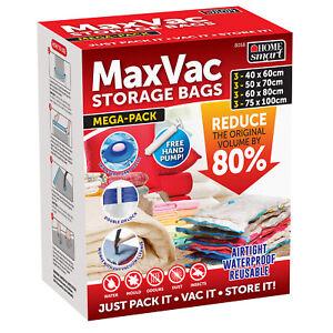 12X Strong Vacuum Storage Bags VAC Space Saving Compressed Bag Vacuum Pack Saver