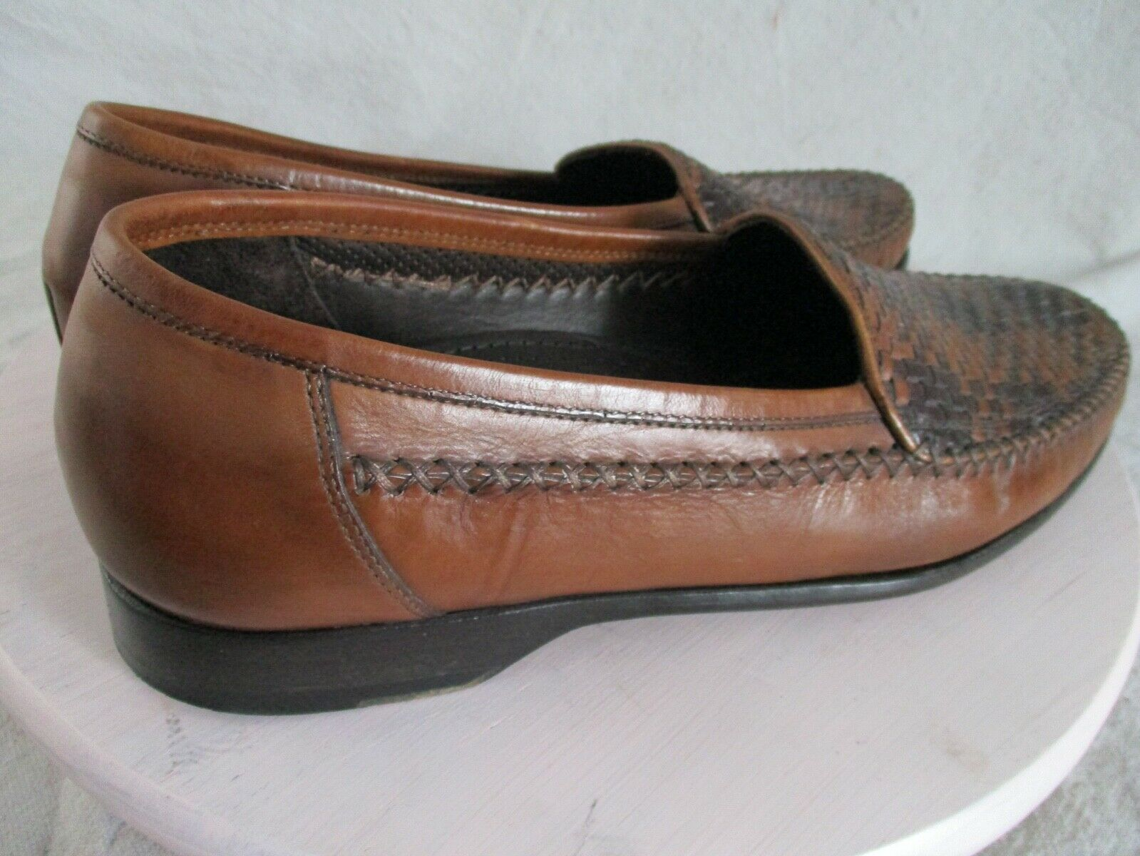 Bragano authentic rare brown black woven leather … - image 3