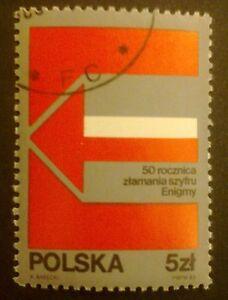 POLAND STAMPS Fi2727 Sc2582a Mi2875 - Breaking the Enigma cipher, 1983, used - Reda, Polska - POLAND STAMPS Fi2727 Sc2582a Mi2875 - Breaking the Enigma cipher, 1983, used - Reda, Polska