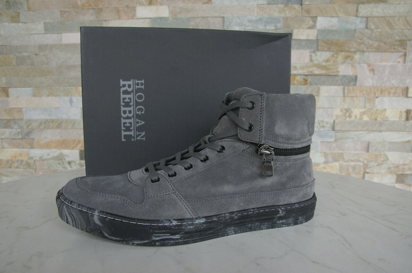 Hogan Rebel 44 10 zapatillas schnürzapatos vintage nuevo zapatos plomo ex. PVP