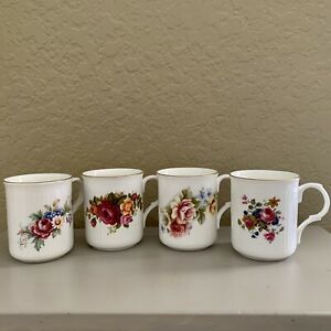 Sadler Wellington Bone China Mugs Floral Made in England Set of 4