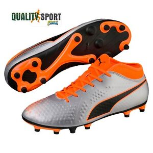 Dettagli su Puma One 4 Syn FG Grigio Arancione Uomo Scarpe Sportive Calcio 104749 01